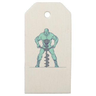 Construction Worker Earth Auger Boring Hole Drawin Wooden Gift Tags