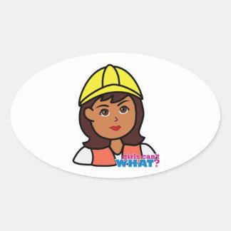Construction Worker Head Dark Oval Sticker