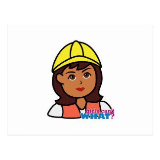 Construction Worker Head Dark Postcard