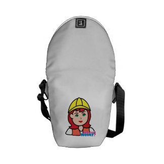 Construction Worker Head Light/Red Courier Bag