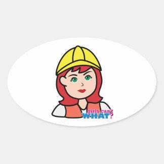 Construction Worker Head Light/Red Oval Sticker