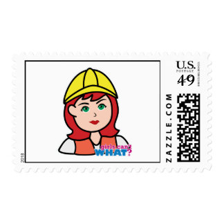 Construction Worker Head Light/Red Postage Stamp