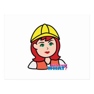 Construction Worker Head Light/Red Postcard