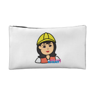 Construction Worker Head Medium Makeup Bag