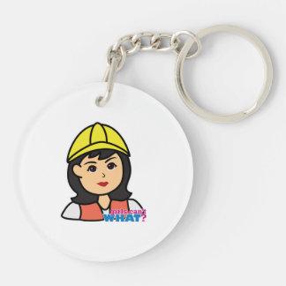 Construction Worker Head Medium Double-Sided Round Acrylic Keychain