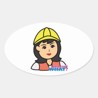 Construction Worker Head Medium Oval Sticker