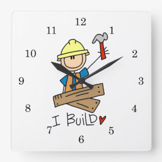 Construction Worker I Build T-shirts and Gifts Square Wall Clock