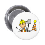 Construction Worker in Manhole Button