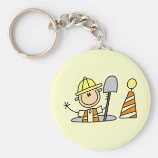 Construction Worker in Manhole Key Chain