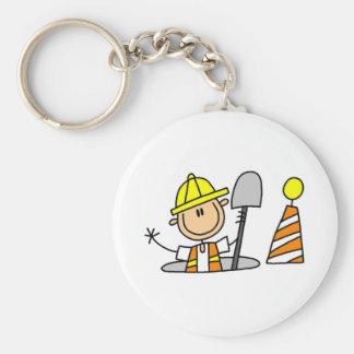 Construction Worker in Manhole Keychain