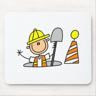 Construction Worker in Manhole Mousepad