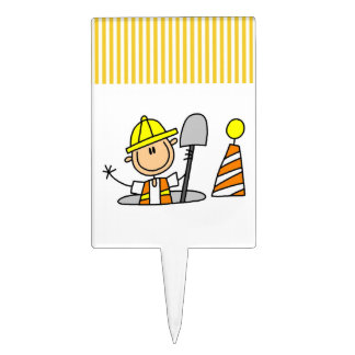 Construction Worker in Manhole T-shirts and Gifts Rectangular Cake Toppers
