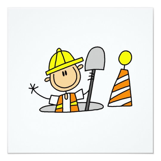 Construction Worker in Manhole T-shirts and Gifts Card