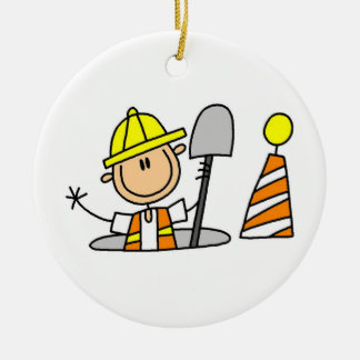 Construction Worker in Manhole T-shirts and Gifts Ceramic Ornament