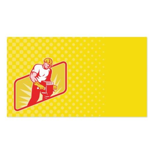 construction worker jackhammer business card