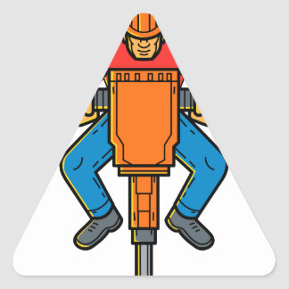 Construction Worker Jackhammer Mono Line Art Triangle Sticker