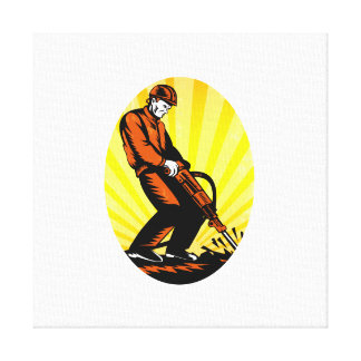 Construction Worker Jackhammer Oval Gallery Wrapped Canvas