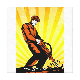 Construction Worker Jackhammer Retro Poster Gallery Wrap Canvas