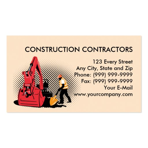 construction worker mechanical digger business cards