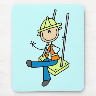 Construction Worker on High Rise Tshirts and Gifts Mouse Mats