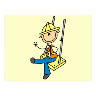 Construction Worker on High Rise Tshirts and Gifts Postcard