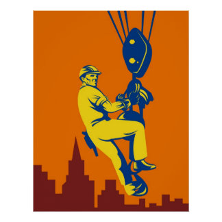 construction worker on hook hoist retro style poster