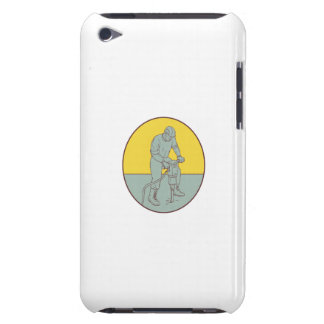 Construction Worker Operating Jackhammer Oval Draw Barely There iPod Cover