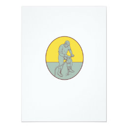 Construction Worker Operating Jackhammer Oval Draw Card