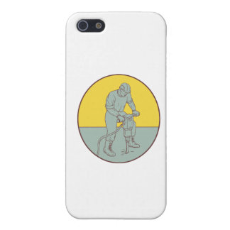 Construction Worker Operating Jackhammer Oval Draw Case For iPhone SE/5/5s