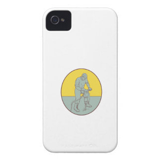 Construction Worker Operating Jackhammer Oval Draw iPhone 4 Cover