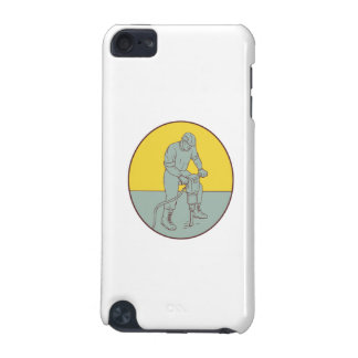 Construction Worker Operating Jackhammer Oval Draw iPod Touch 5G Case