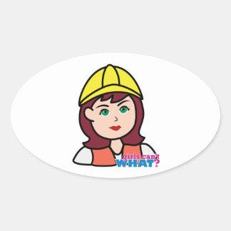Construction Worker Oval Sticker