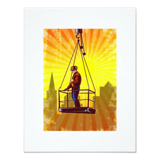 Construction Worker Platform Retro Poster 4.25x5.5 Paper Invitation Card