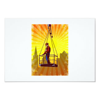 Construction Worker Platform Retro Poster 3.5x5 Paper Invitation Card