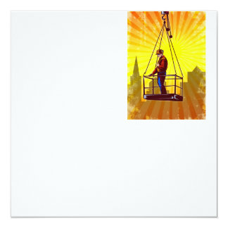 Construction Worker Platform Retro Poster 5.25x5.25 Square Paper Invitation Card