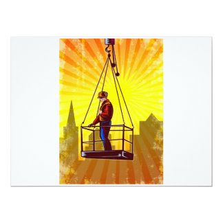 Construction Worker Platform Retro Poster 6.5x8.75 Paper Invitation Card