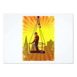 Construction Worker Platform Retro Poster 5x7 Paper Invitation Card