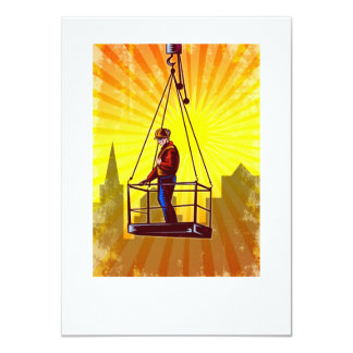 Construction Worker Platform Retro Poster 4.5x6.25 Paper Invitation Card