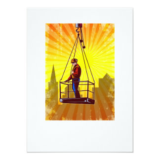 Construction Worker Platform Retro Poster 5.5x7.5 Paper Invitation Card