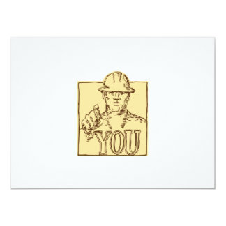 Construction Worker Pointing You Etching 6.5x8.75 Paper Invitation Card