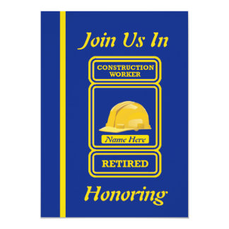 "Construction Worker Retirement Invitation 5"" X 7"" Invitation Card"
