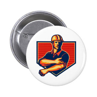 Construction Worker Rolling Up Sleeve Retro Pin