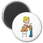 Construction Worker Sawing Board Magnet Fridge Magnet