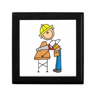 Construction Worker Sawing Lumber Gifts Keepsake Boxes