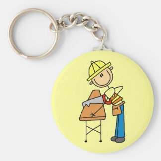 Construction Worker Sawing Lumber Gifts Key Chain