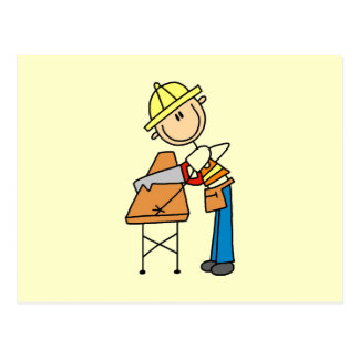 Construction Worker Sawing Lumber Gifts Postcard