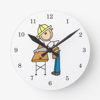 Construction Worker Sawing Lumber Gifts Round Clock