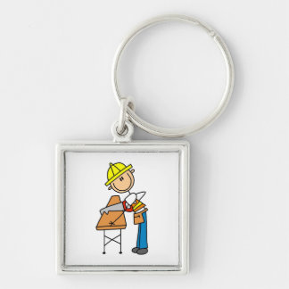 Construction Worker Sawing Lumber Gifts Silver-Colored Square Keychain