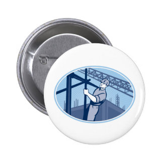 Construction Worker Scaffolding Retro Buttons
