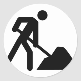 construction worker sign round stickers
